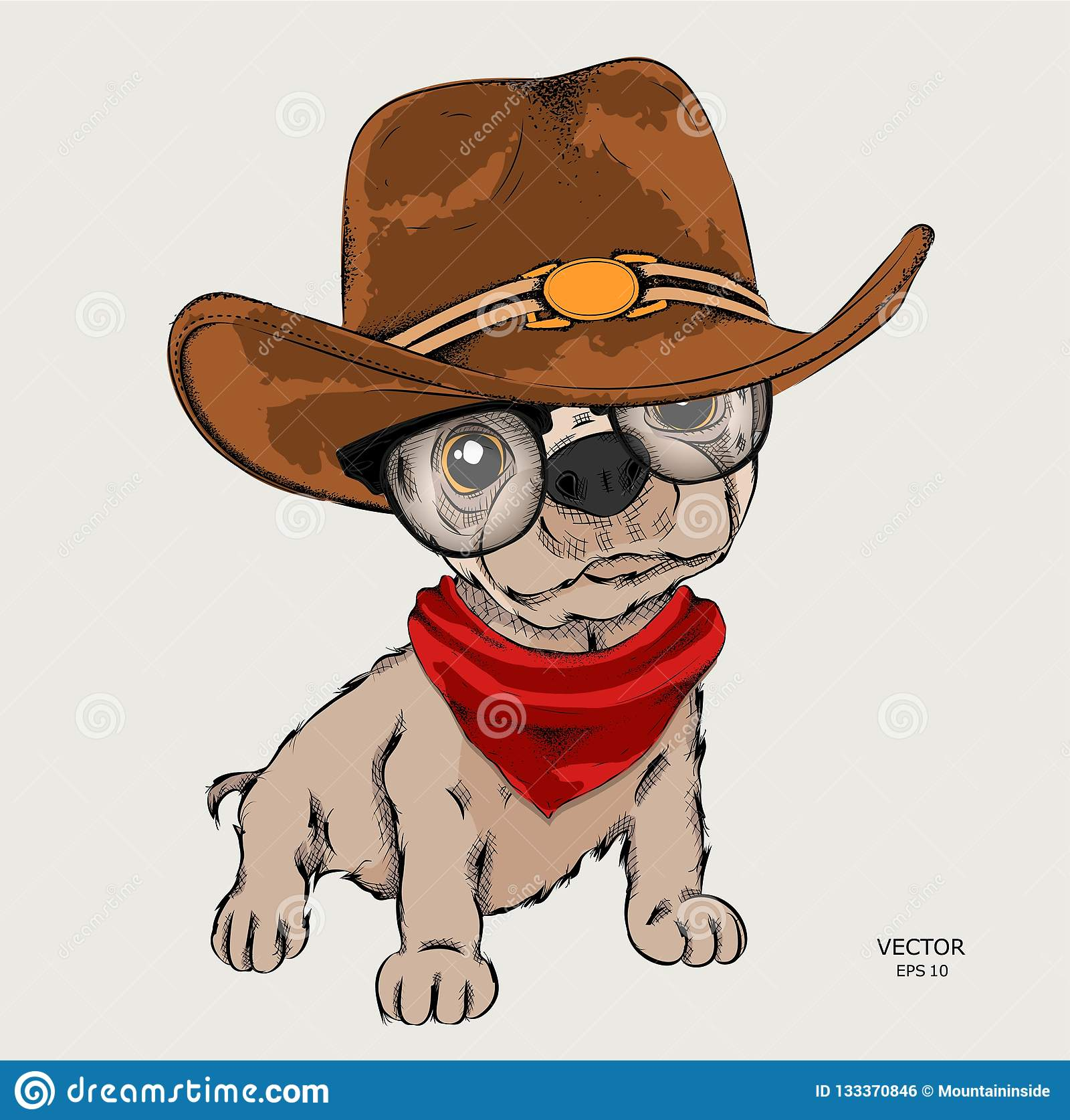 A Cool Funny Dog In A Cowboy Hat. Vector Illustration Stock Vector ... ed9e716ad49