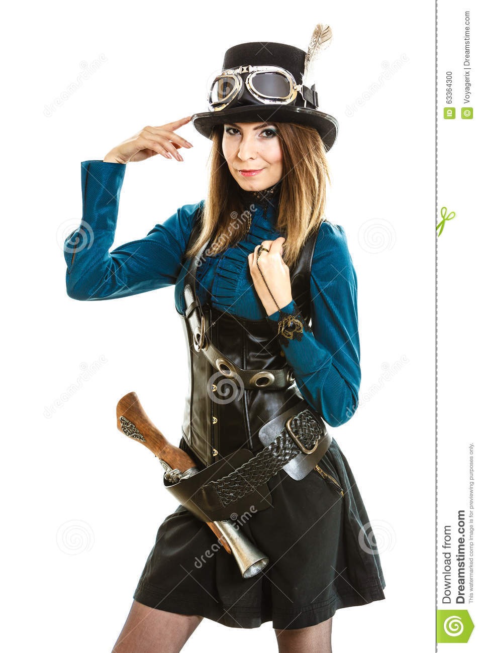 Cool Girl In Steampunk Style Stock Photo Image 63364300
