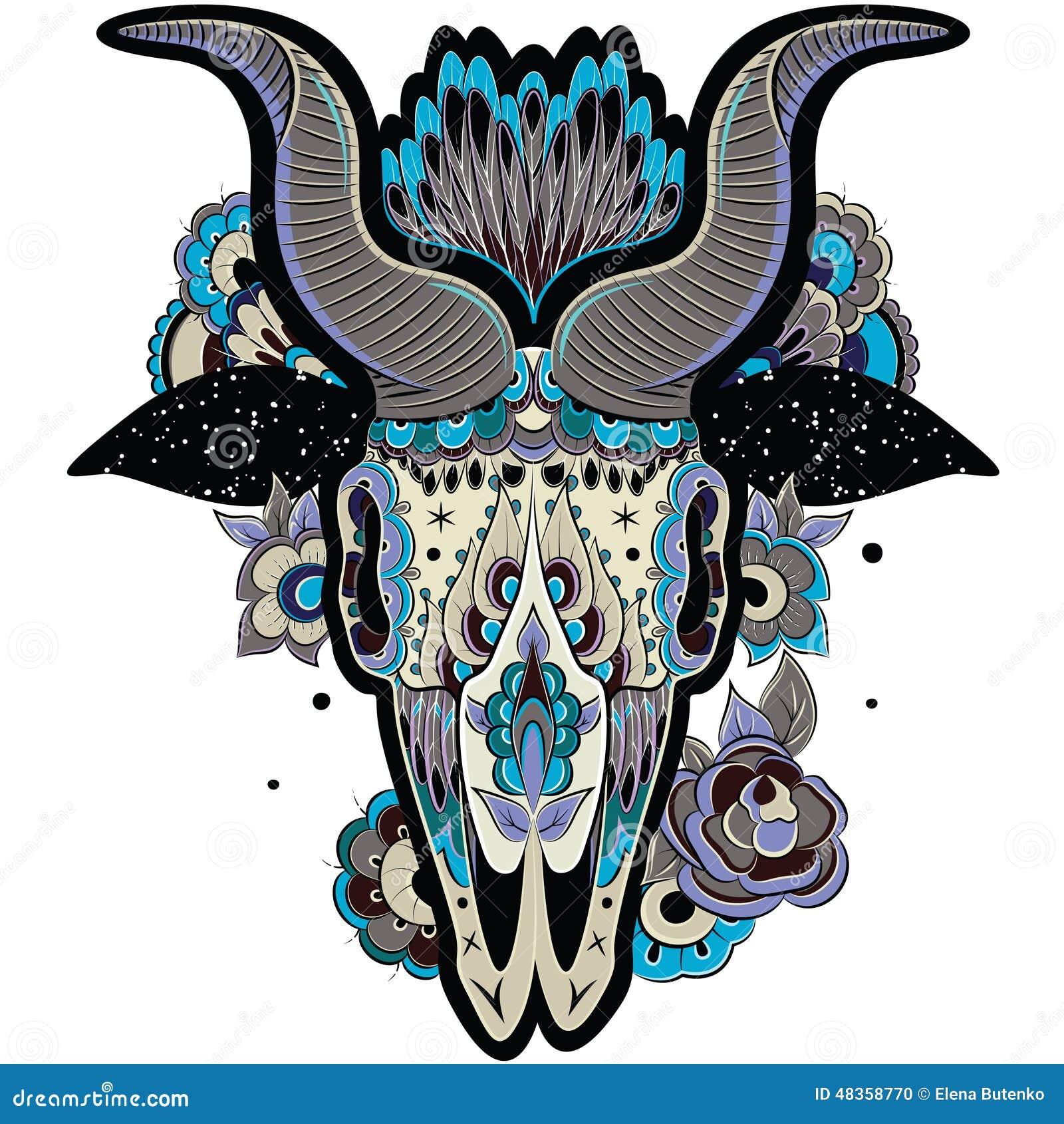 Cool Tattoo Backgrounds: Cool Goat Skull Stock Vector. Illustration Of Decor