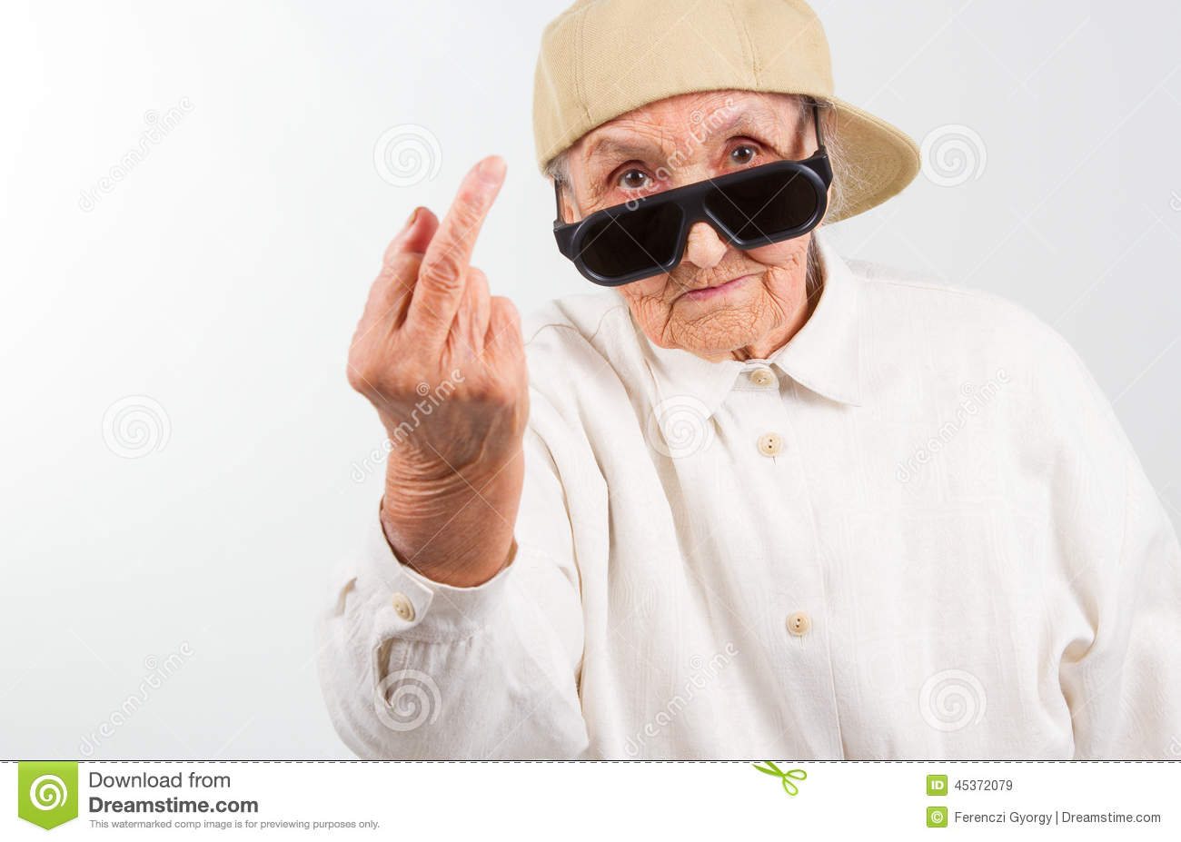 ... and baseball cap, who shows her f-finger , isolated on white