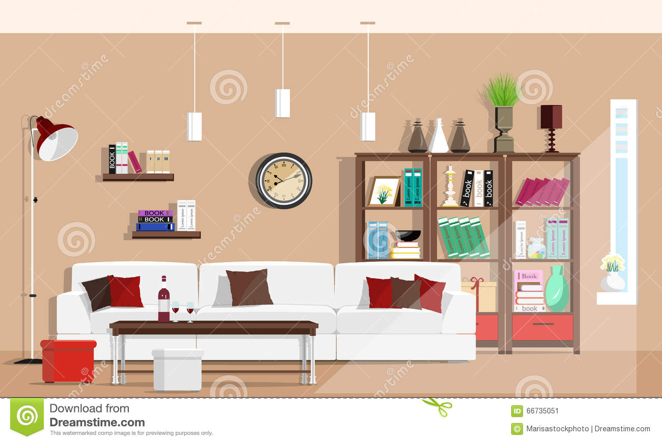 Living room interior furniture with sofa floor lamp for Room layout designer free