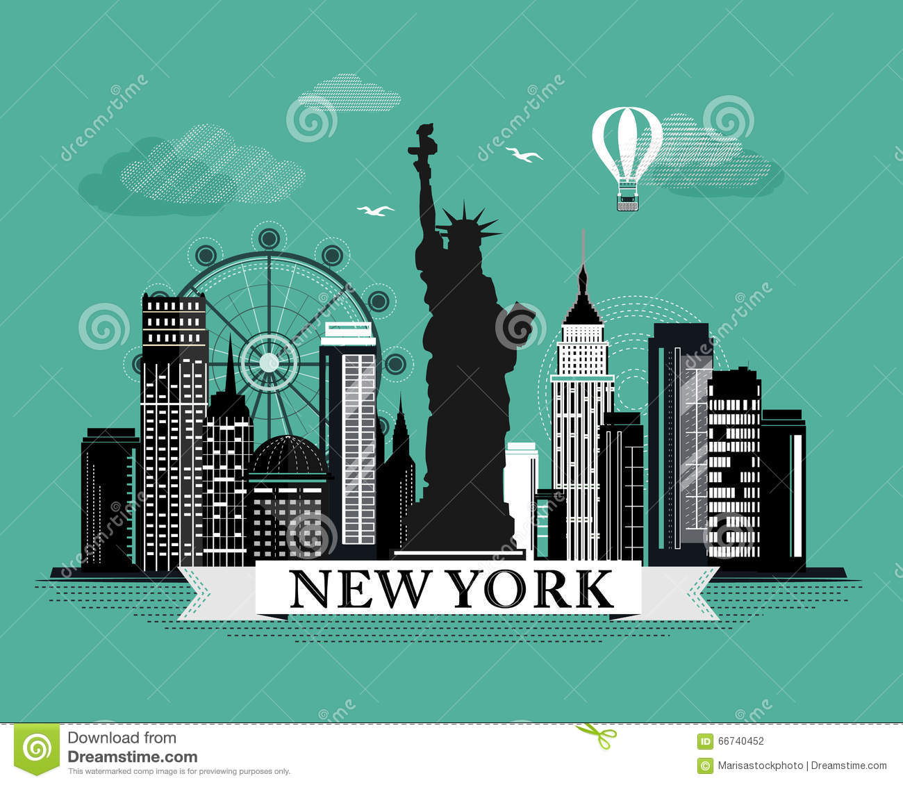 Poster design new york - City Cool Design Detailed Elements Graphic Landmarks Landscape Looking New Poster Retro Skyline York