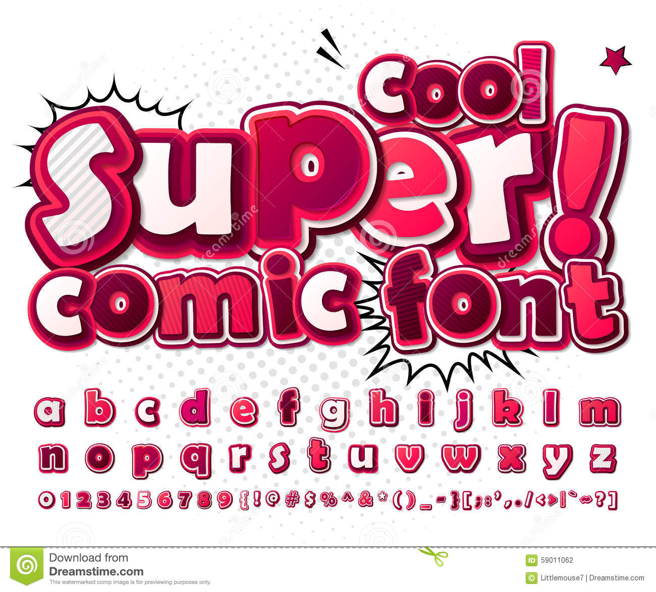 Cool High Detail Comic Font In Pink Colors. Comics Illustration ...