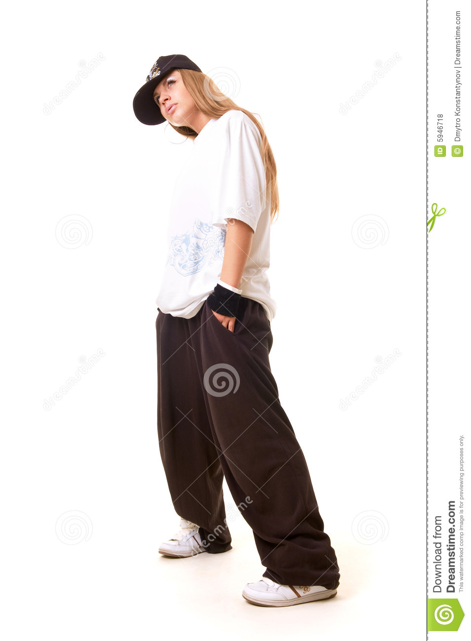 Tough Hip Hop Girl In Dance Pose Royalty-Free Stock Image -7890