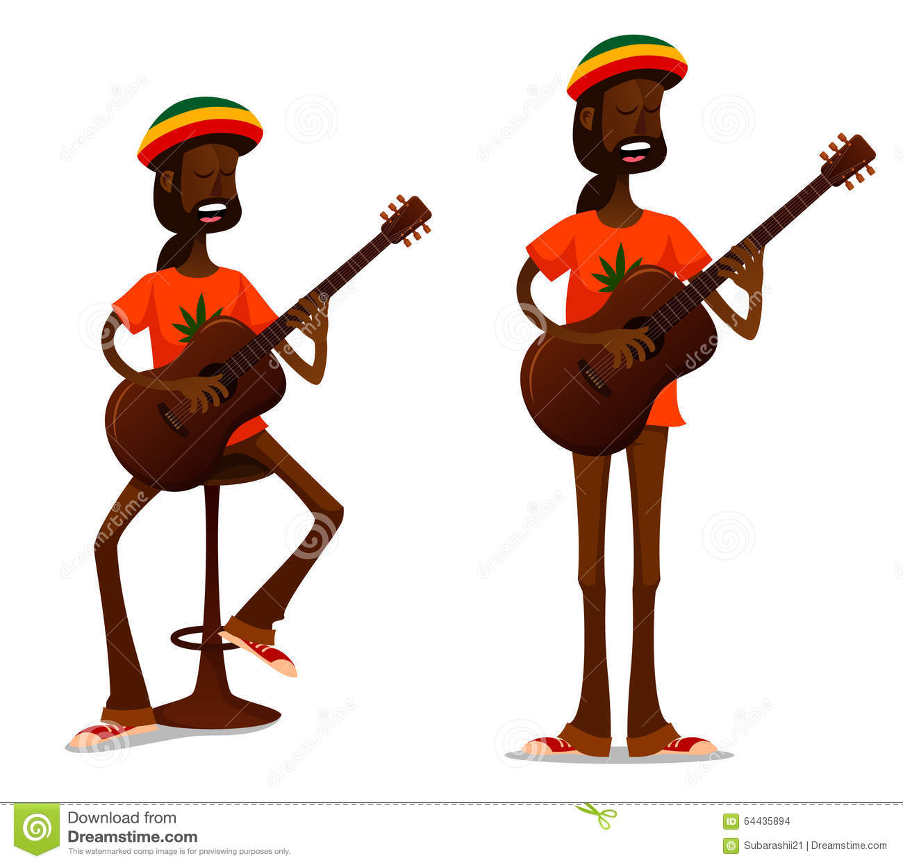 Cool Jamaican Guy Playing Guitar Stock Vector Image  : cool jamaican guy playing guitar cartoon illustration sitting bar stool 64435894 from dreamstime.com size 1300 x 1245 jpeg 112kB