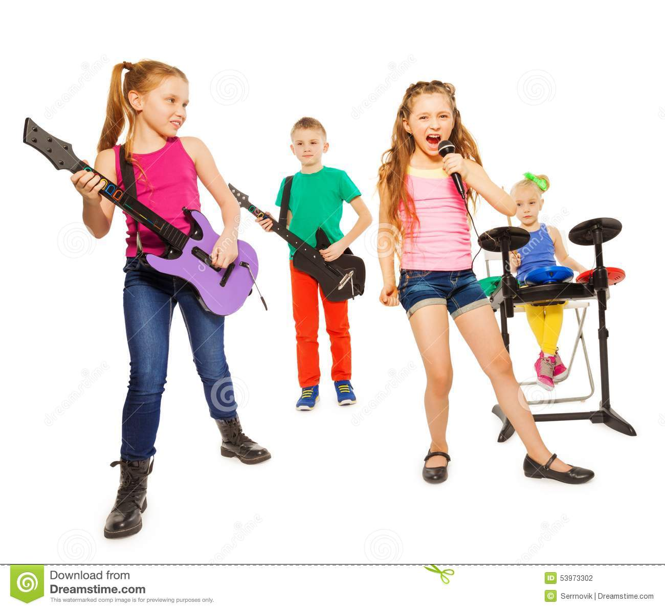 Kids Playing Instruments White Background
