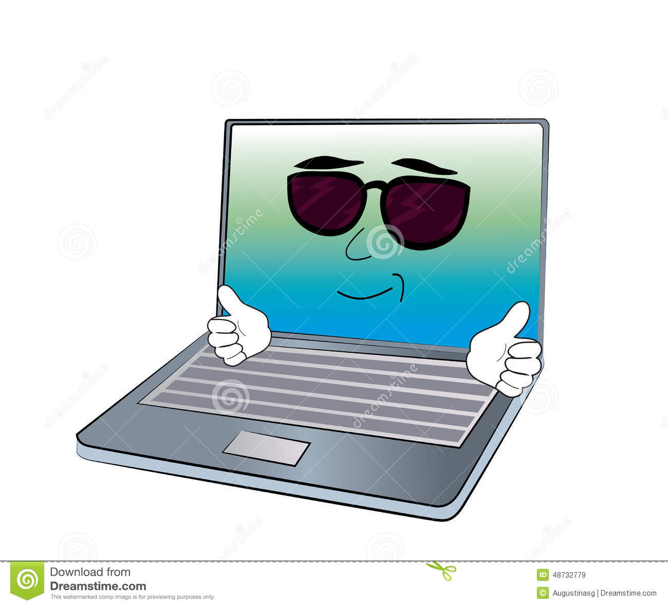 Cool Laptop Cartoon Stock Illustration - Image: 48732779