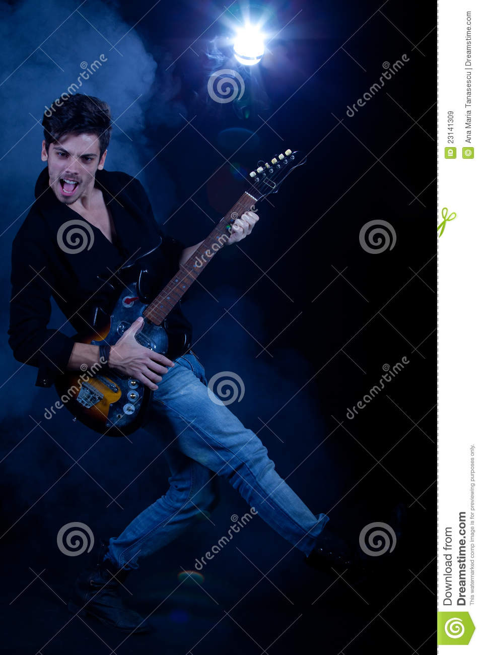 cool man with electric guitar stock image image of handsome clothes 23141309. Black Bedroom Furniture Sets. Home Design Ideas