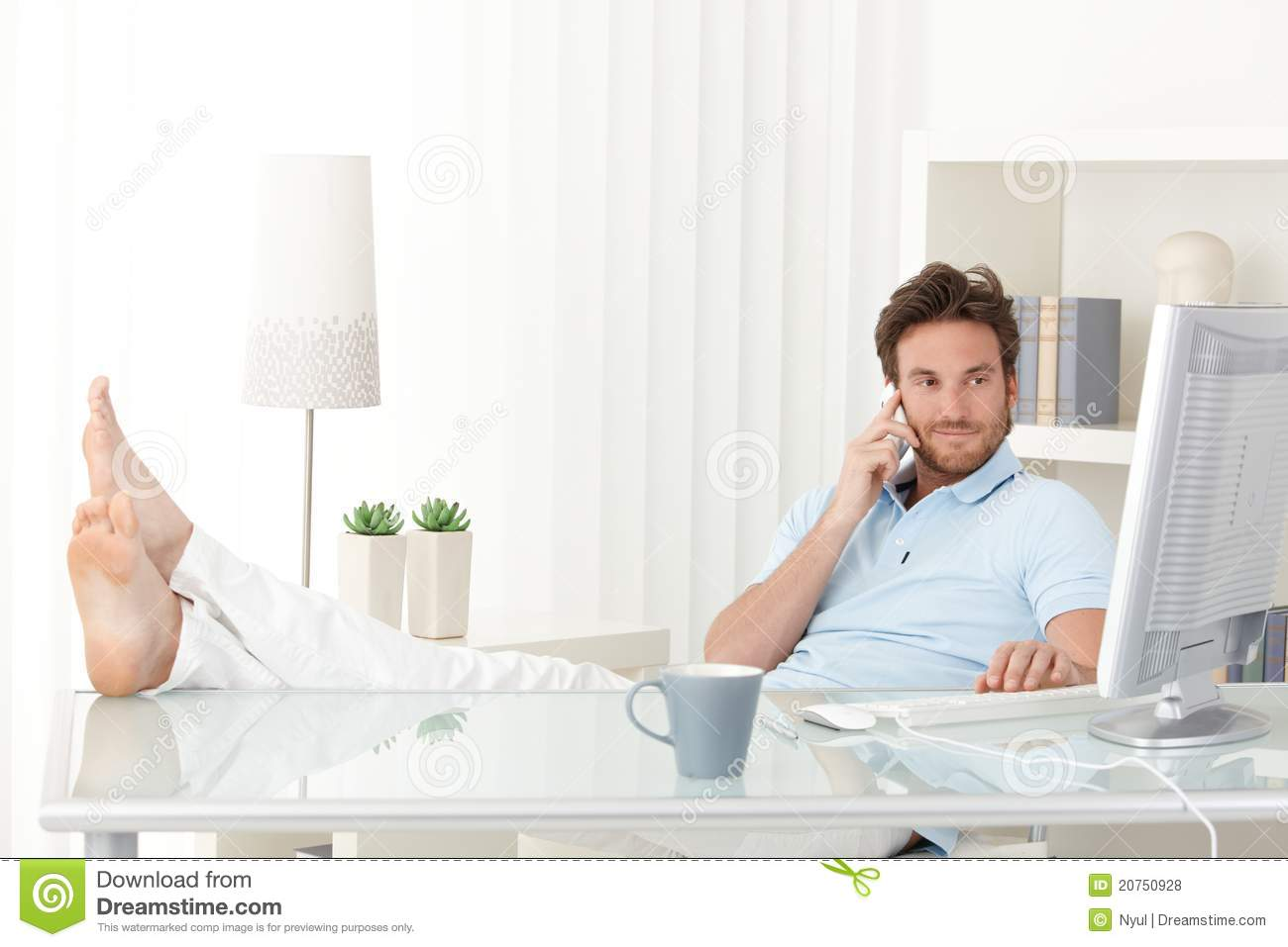 Fantastic Cool Man With Feet Up On Desk Stock Photo Image Of Download Free Architecture Designs Rallybritishbridgeorg