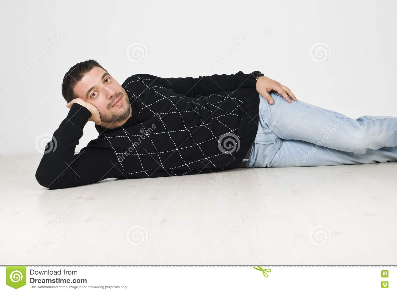 Cool man lying down on floor royalty free stock photo for Down to the floor