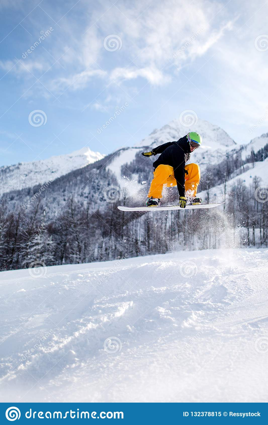 Cool Snowboarder In High Mountains During Sunny Day Stock Image Image Of Recreation Activity 132378815