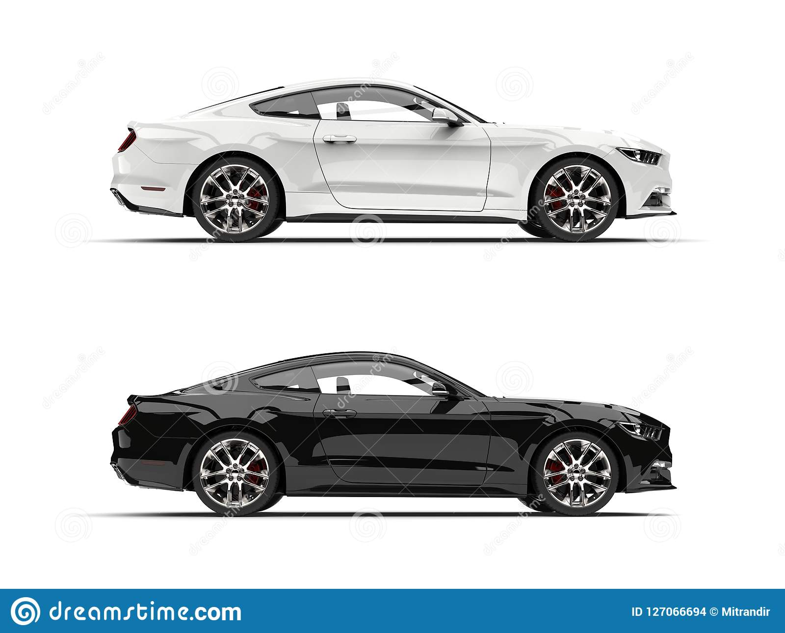 Cool Modern Black And White Sports Muscle Cars Side View Stock