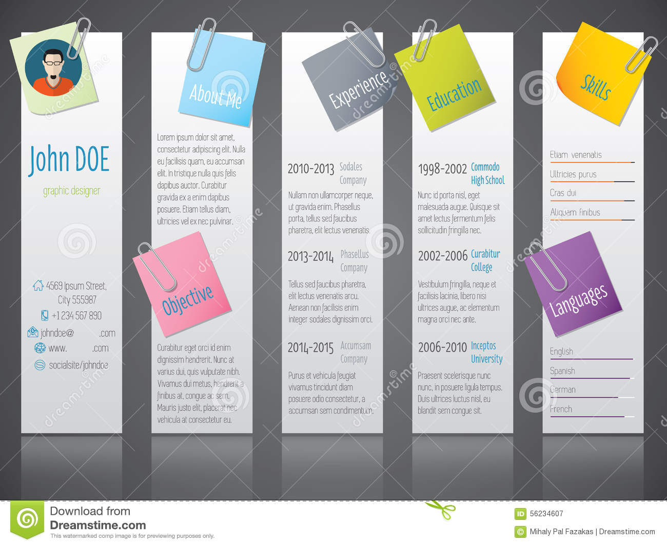 cool modern curriculum vitae cv resume with labels and post its stock vector