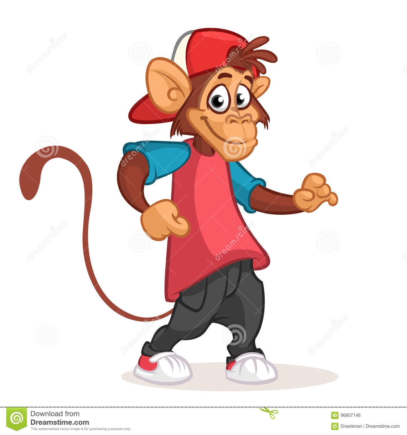 Cool Monkey T-shirt Graphics. Monkey Illustration With ...