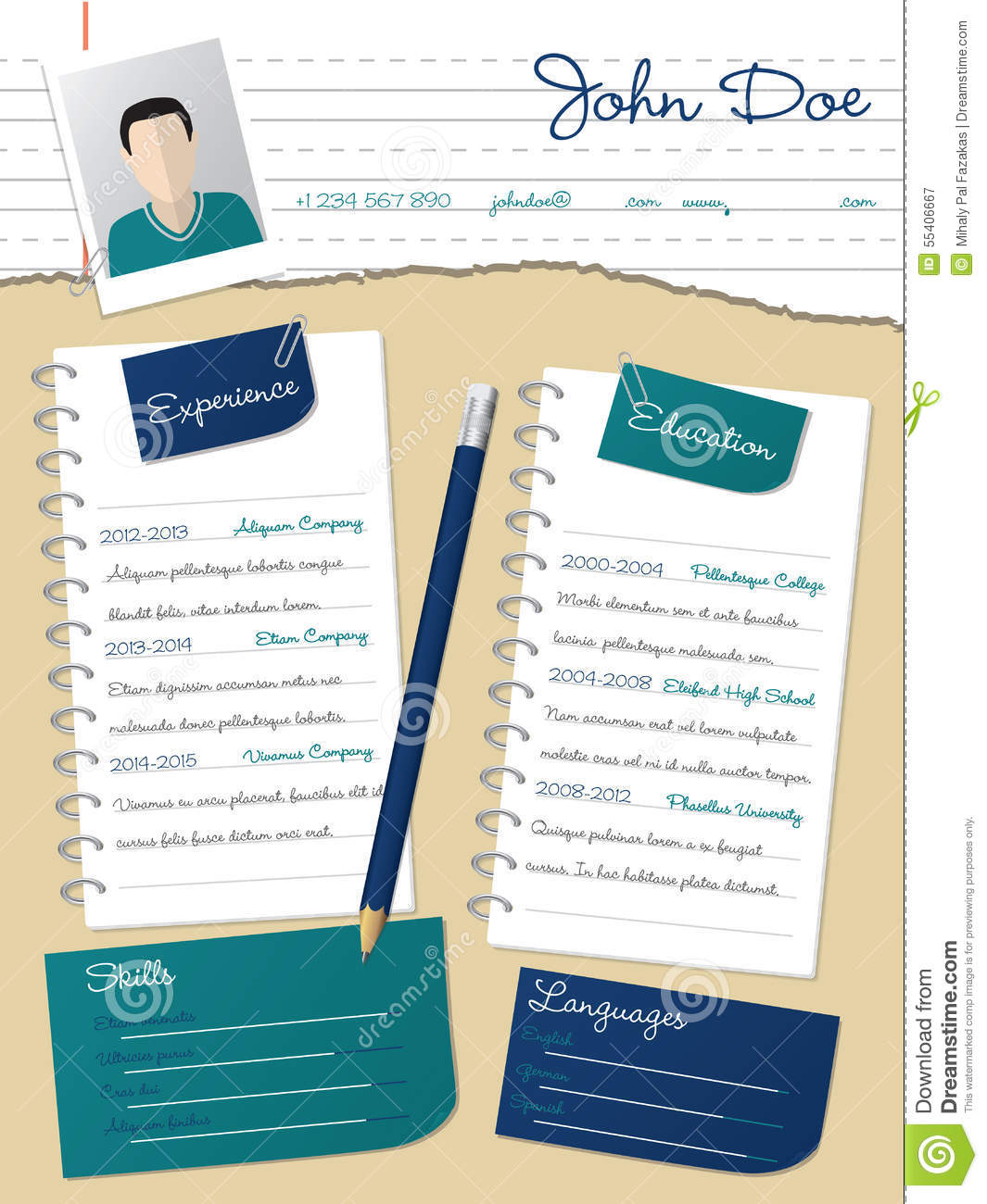 cool new curriculum vitae resume with notepapers and pencil stock vector