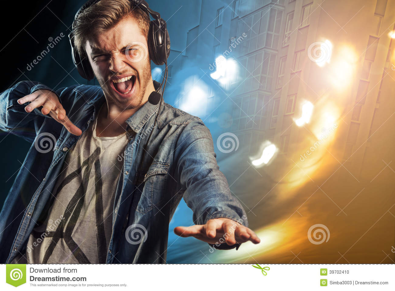 Cool Party Dj Man With Headphones Stock Photo Image