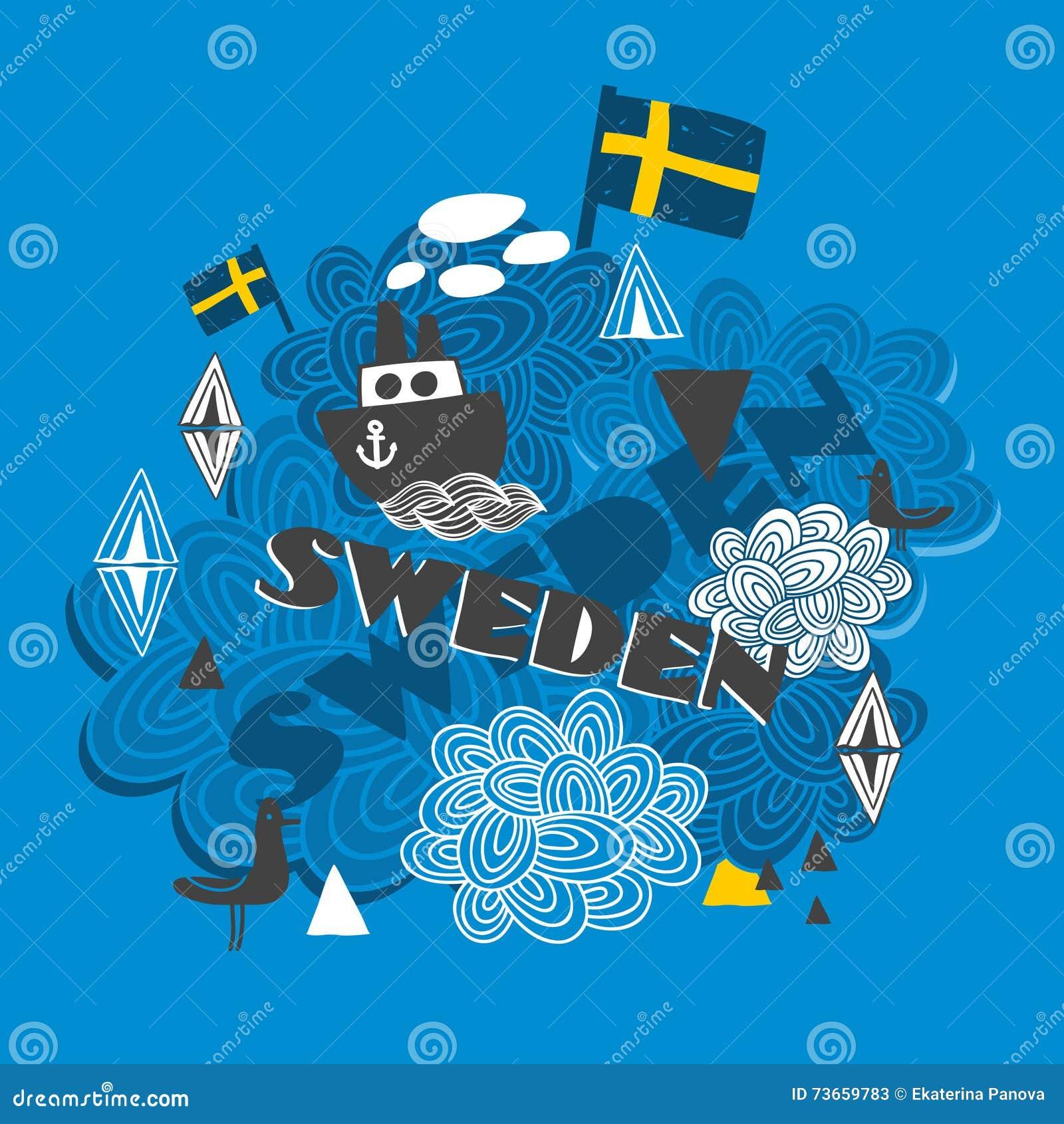 Cool pattern with swedish symbols stock vector illustration of cool pattern with swedish symbols buycottarizona