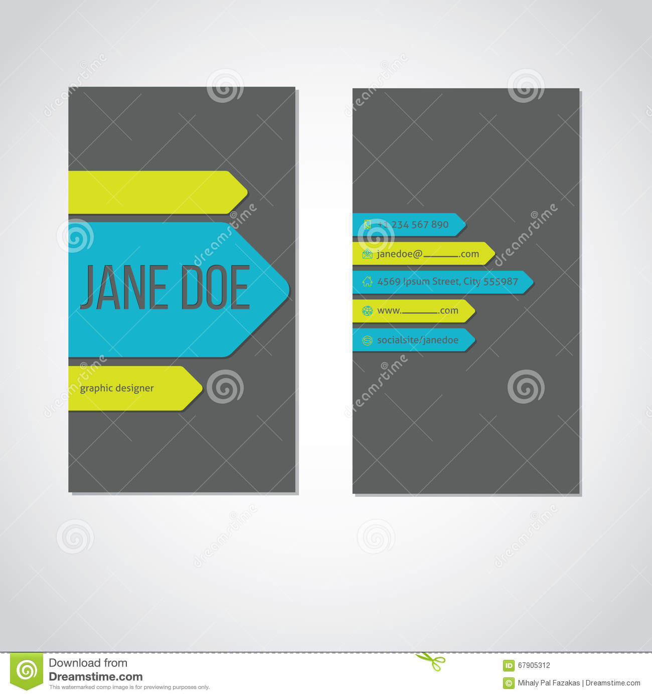 Cool portrait business card with color arrows stock vector cool portrait business card with color arrows colourmoves