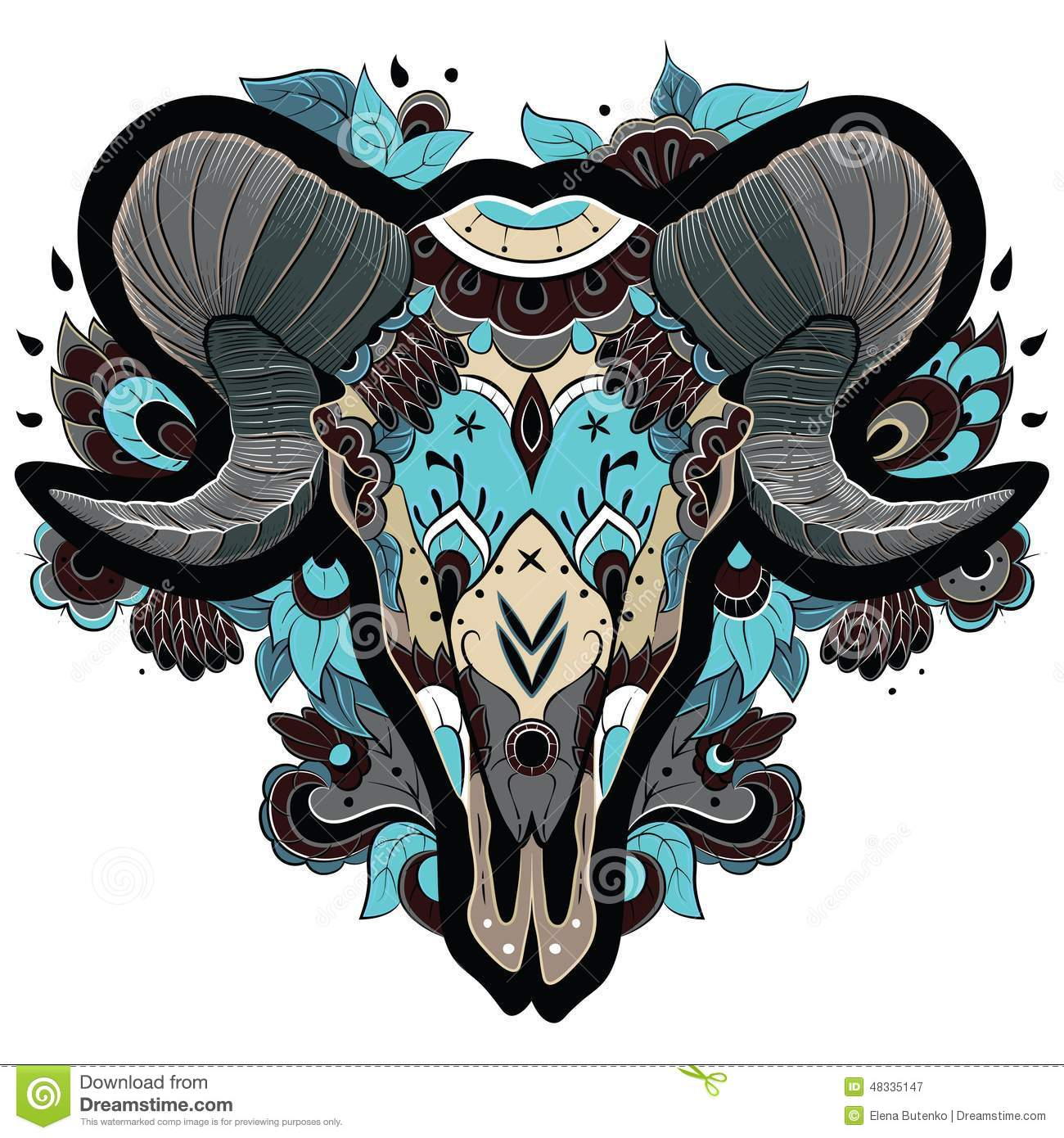 Cool Ram Skull Stock Photo Image 48335147