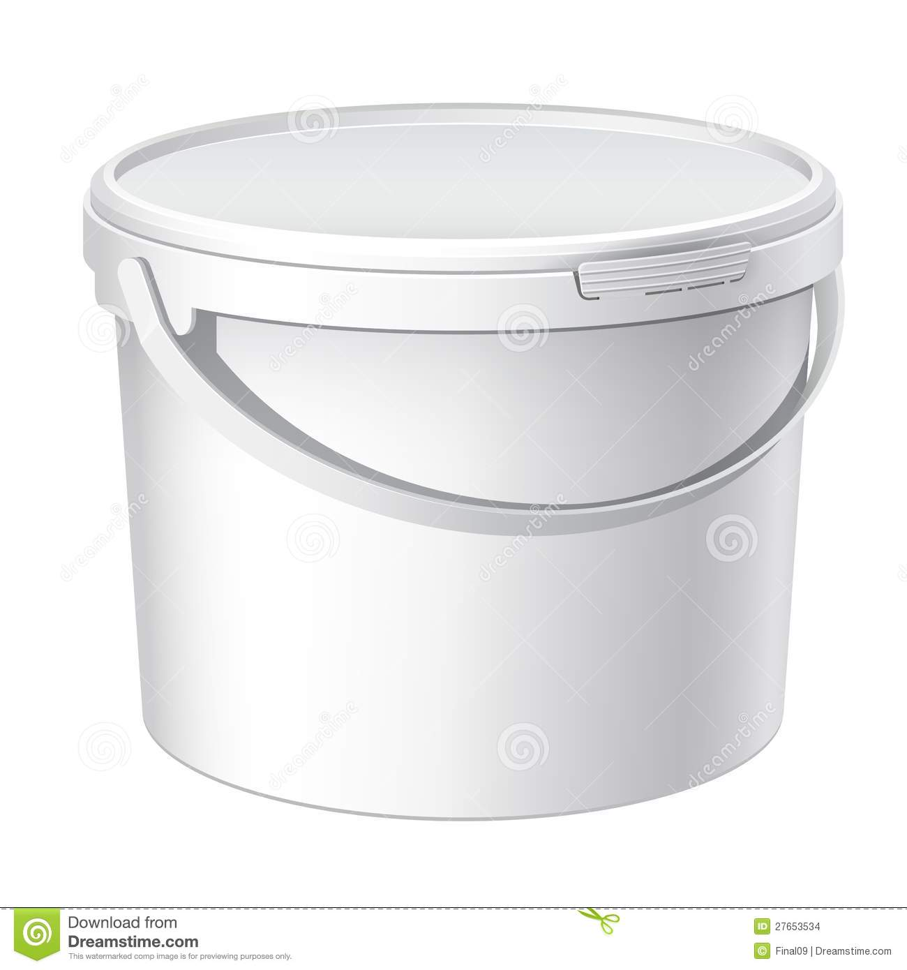 Cool Realistic White Plastic Bucket Vector Stock Photo