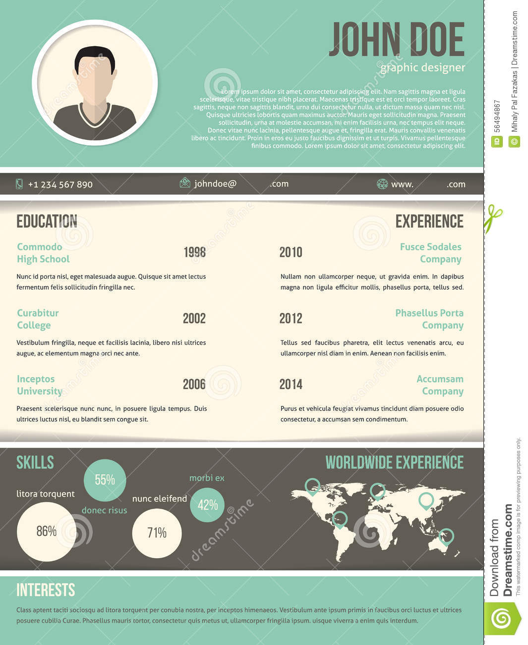 Cool Resume Cv Design With Dark And Light Contrast Stock