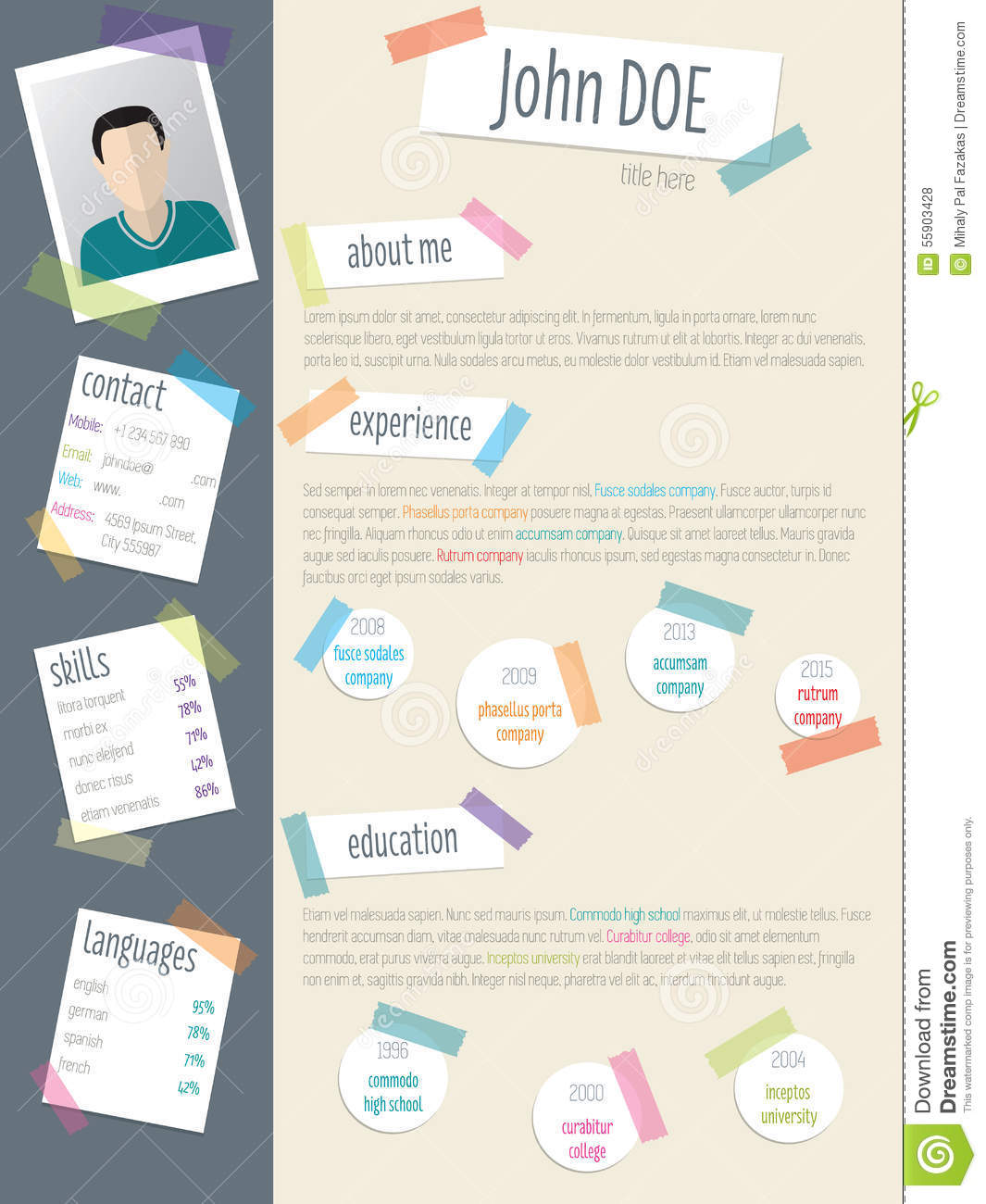 Cool Resume Cv With Post Its And Color Tapes Stock Vector Image