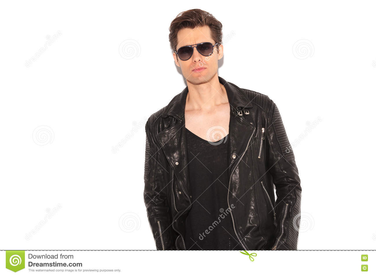 Cool Rock And Roll Man Wearing Leather Jacket And ...