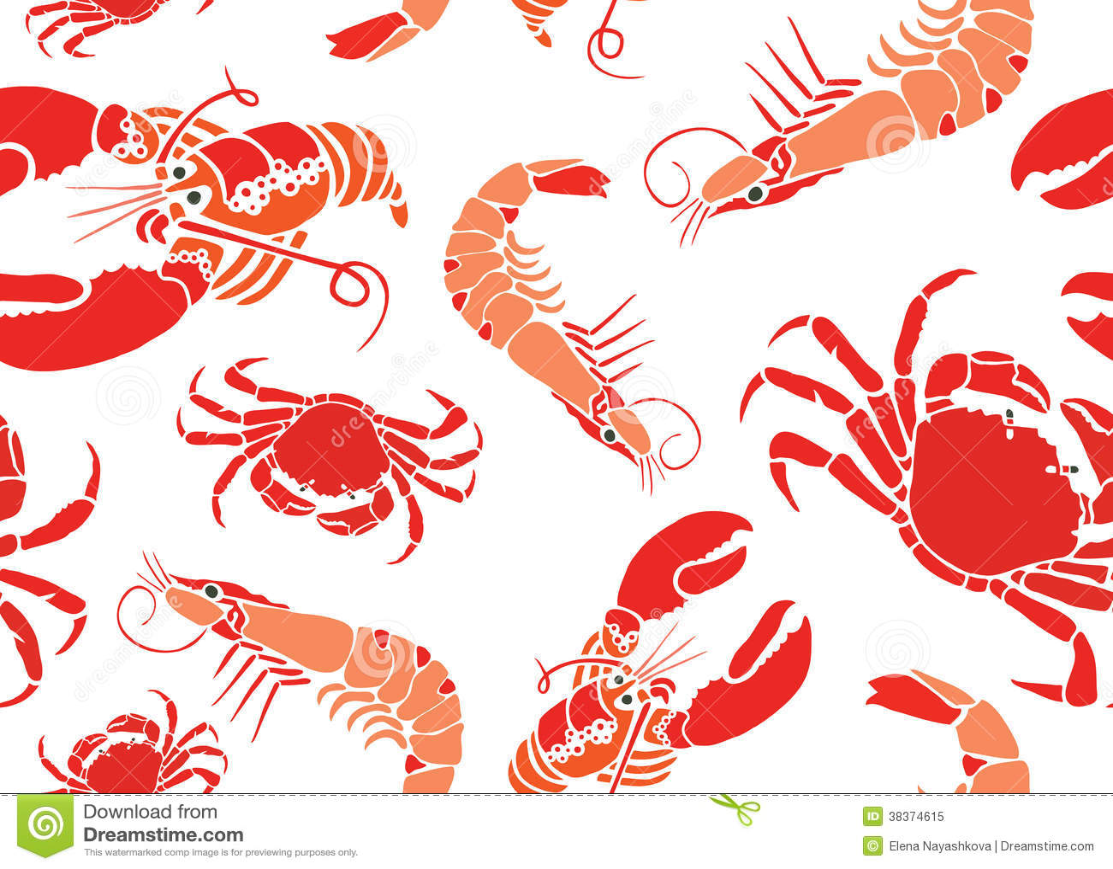 Cool Seafood Seamless Pattern Stock Illustration - Image ...