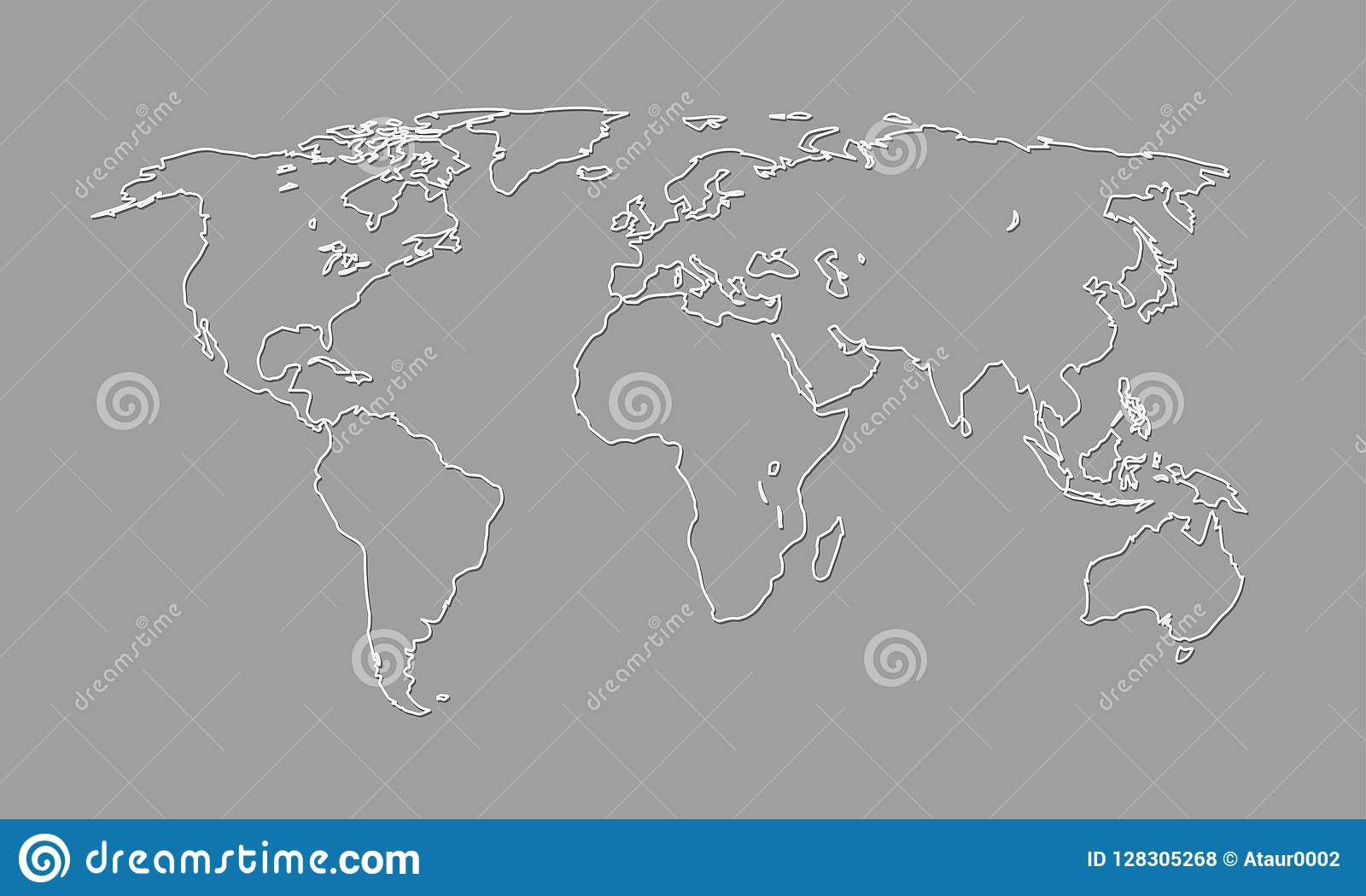 A Cool And Simple Black And White World Map Outline Of Different