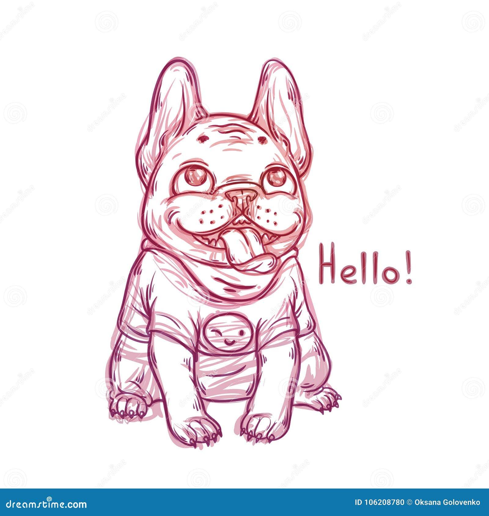 Cool skissar ståenden av den bärande t-skjortan för den franska bulldoggen med en leendeemoji
