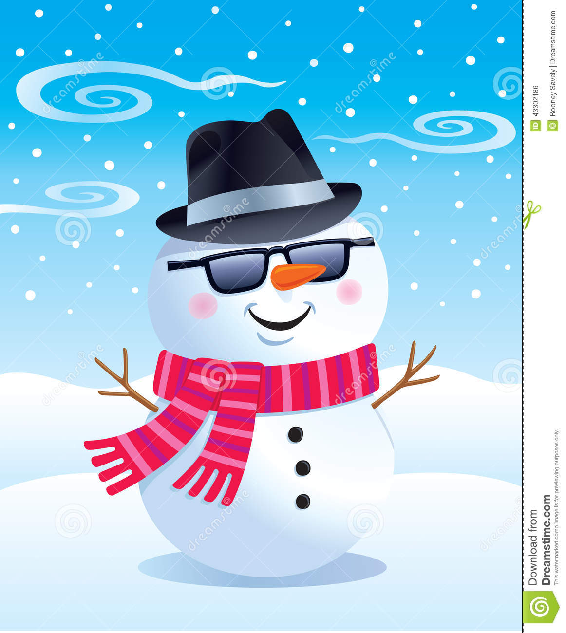 Cool Snowman In A Fedora Stock Illustration Image Of