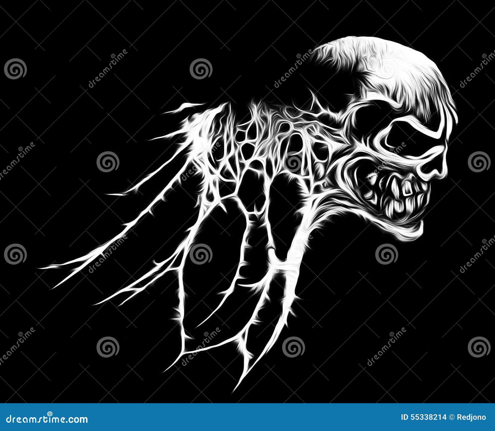 cool spider web skull graphic stock illustration - illustration of