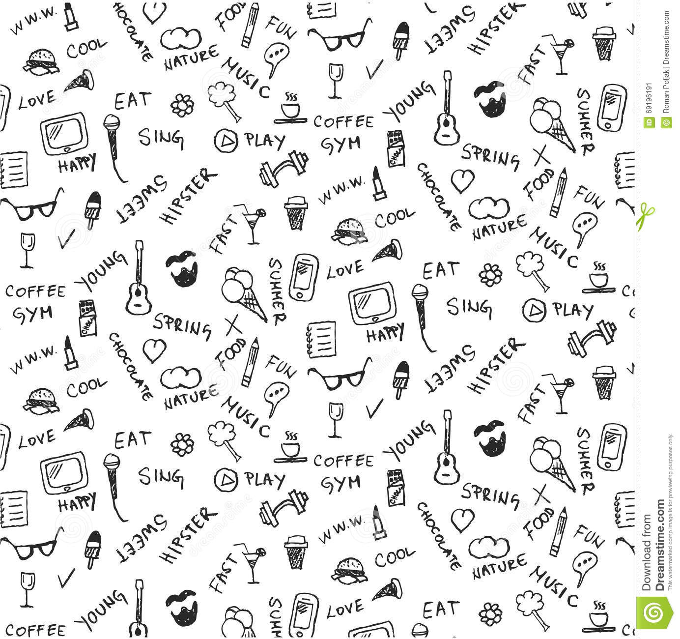 Cool Summer Pattern, Doodles, Graffiti, Pizza, Smart Phone, Ice Stock ...