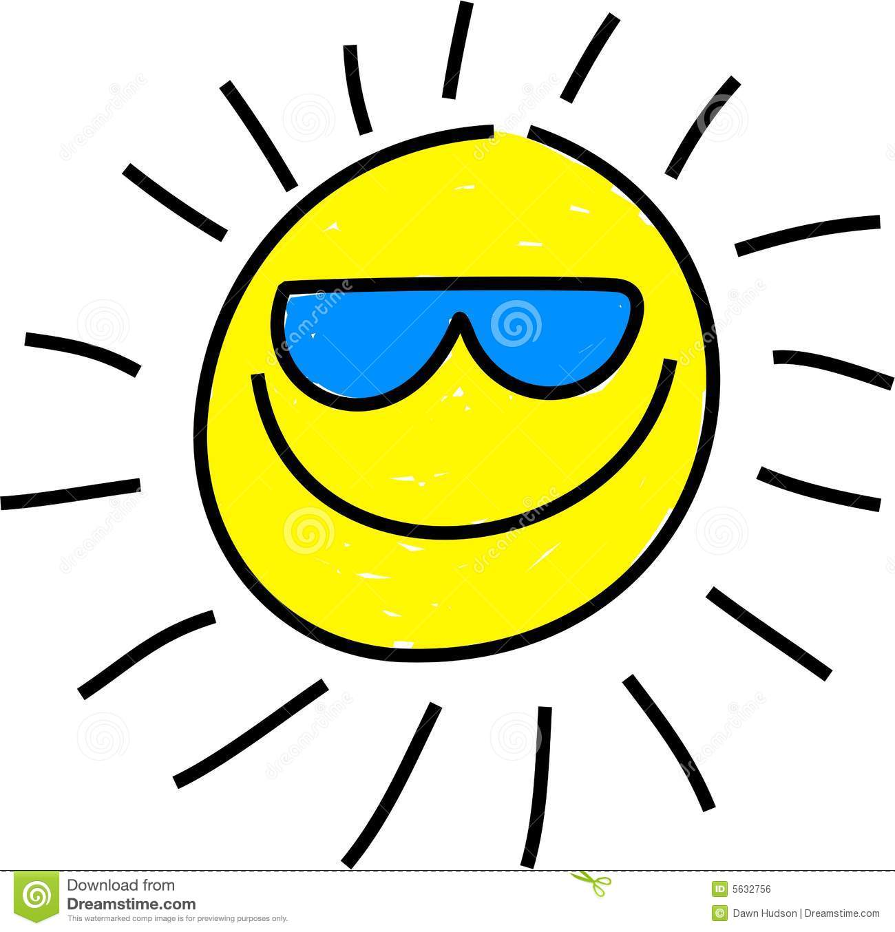 Whimsical drawing of a isolated sun wearing sunglasses.