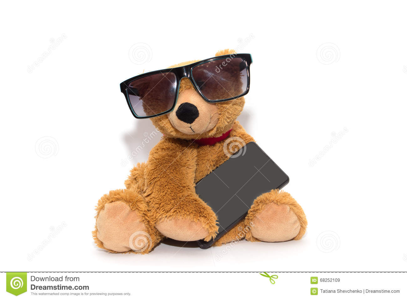 a57ee18e5cd Cool Teddy Bear In Sunglasses With Phone Isolated Stock Image ...