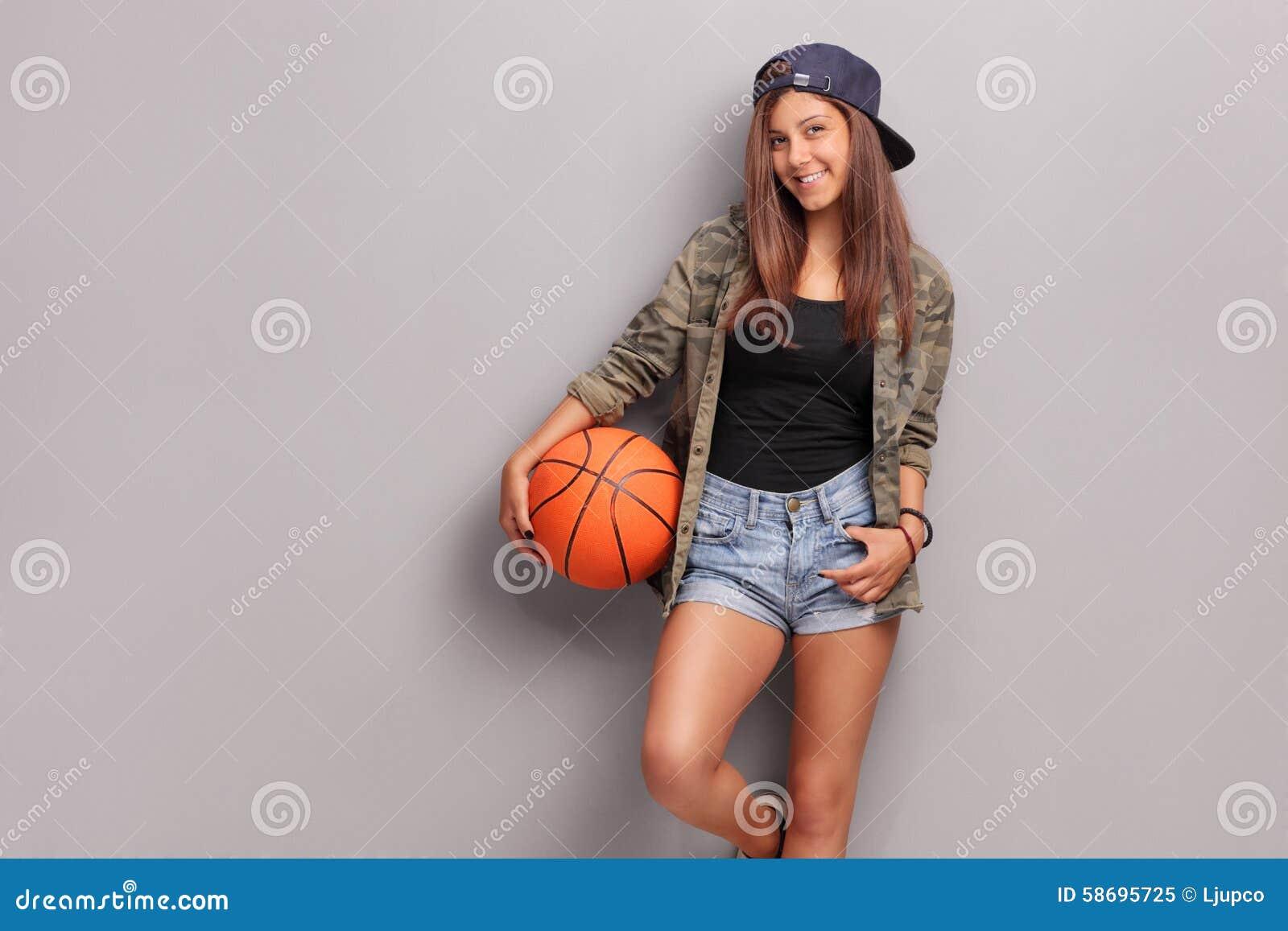 Cool Teenage Girl Holding A Basketball Stock Image Image