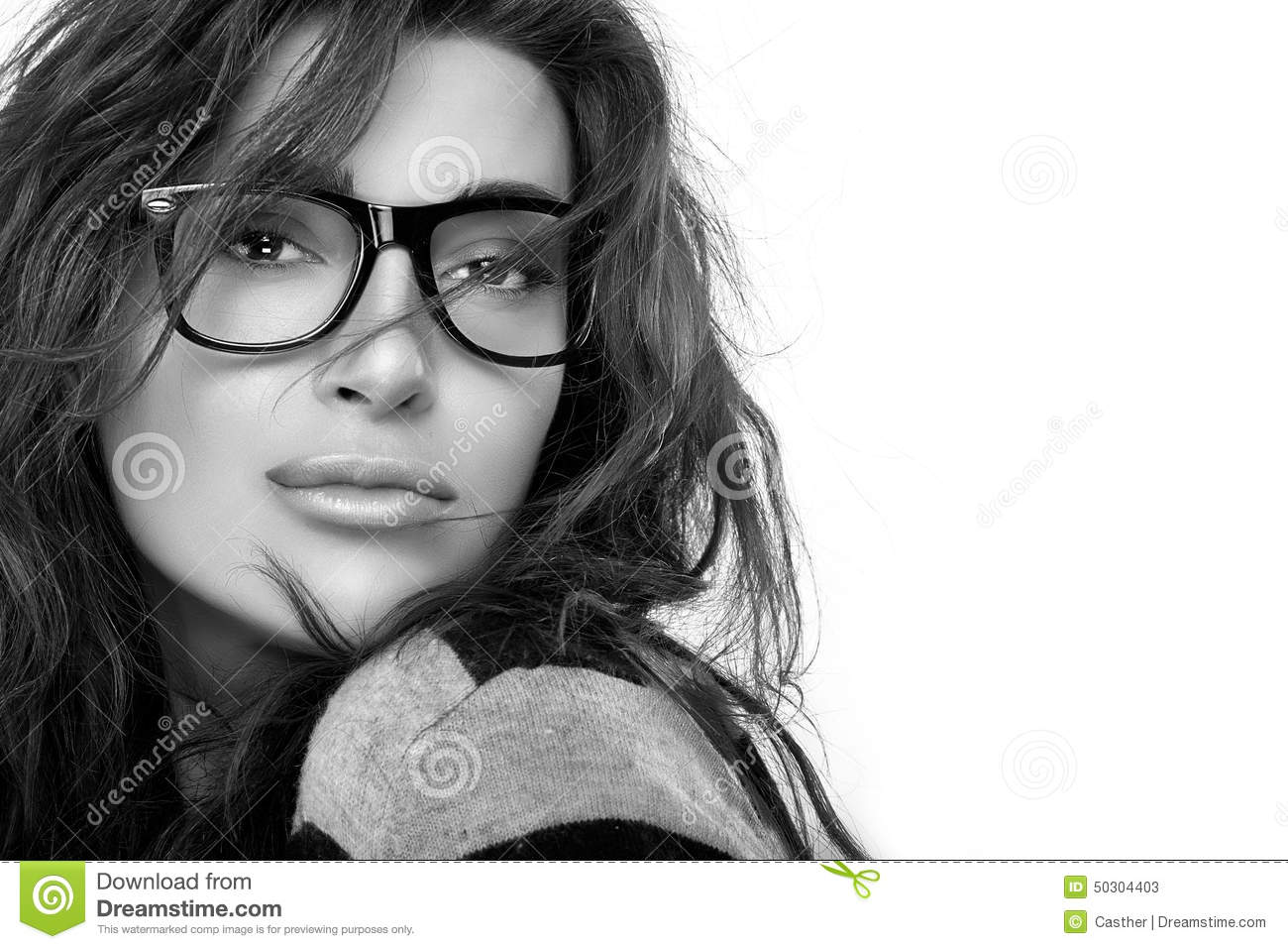 b6dfcab586c Cool Trendy Eyewear. Beauty Fashion Young Woman In Glasses. Stock ...