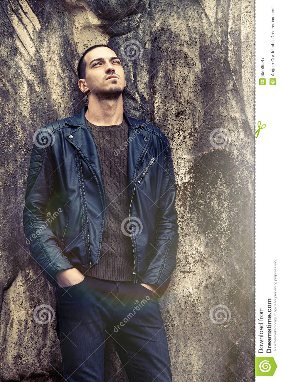 Cool Trendy Man Leaning Against The Wall. Rock Style ...
