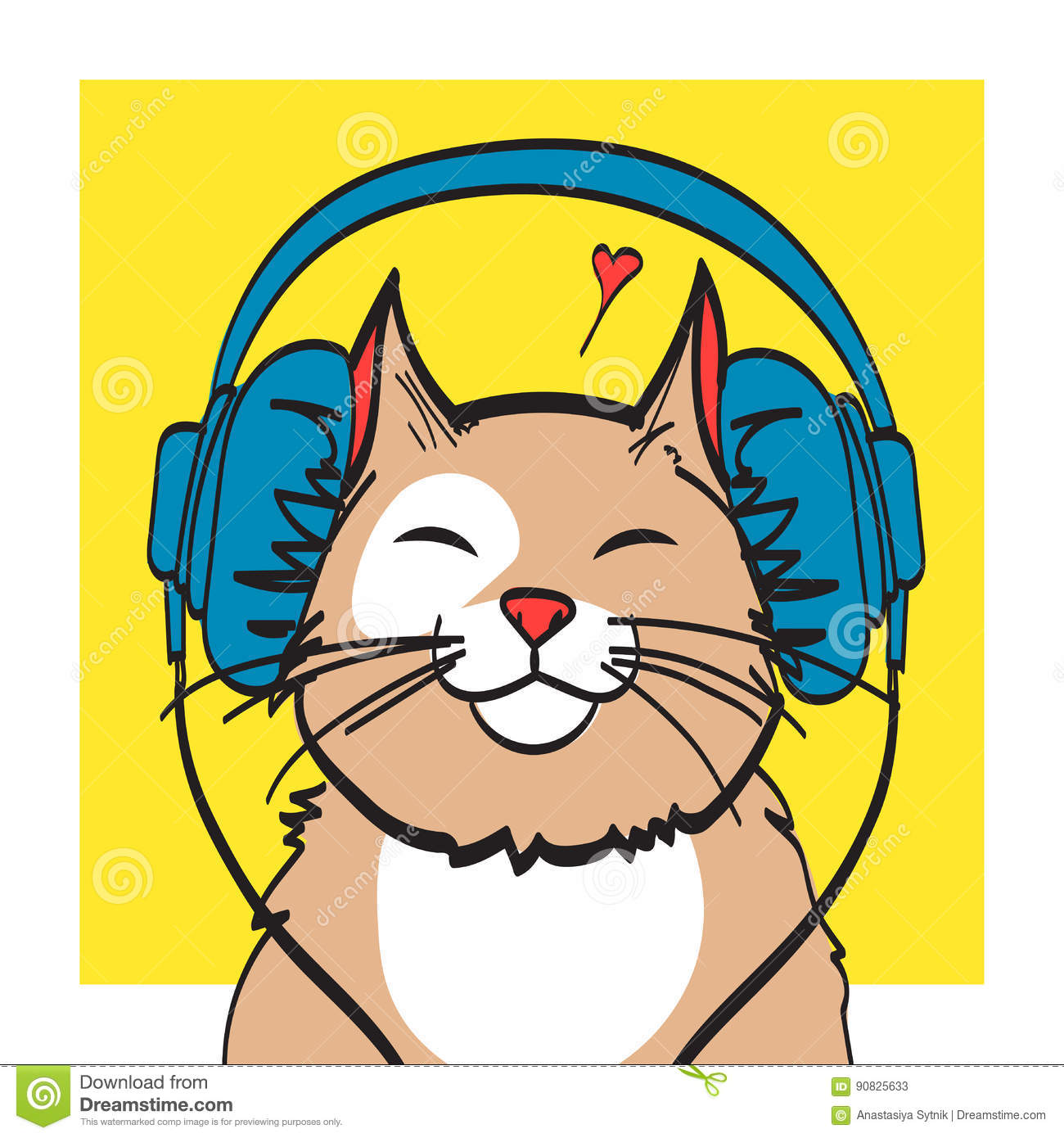 cool vector art of cat with headphone music picture eps 10 on rh dreamstime com cool vector artwork cool vector art tutorials
