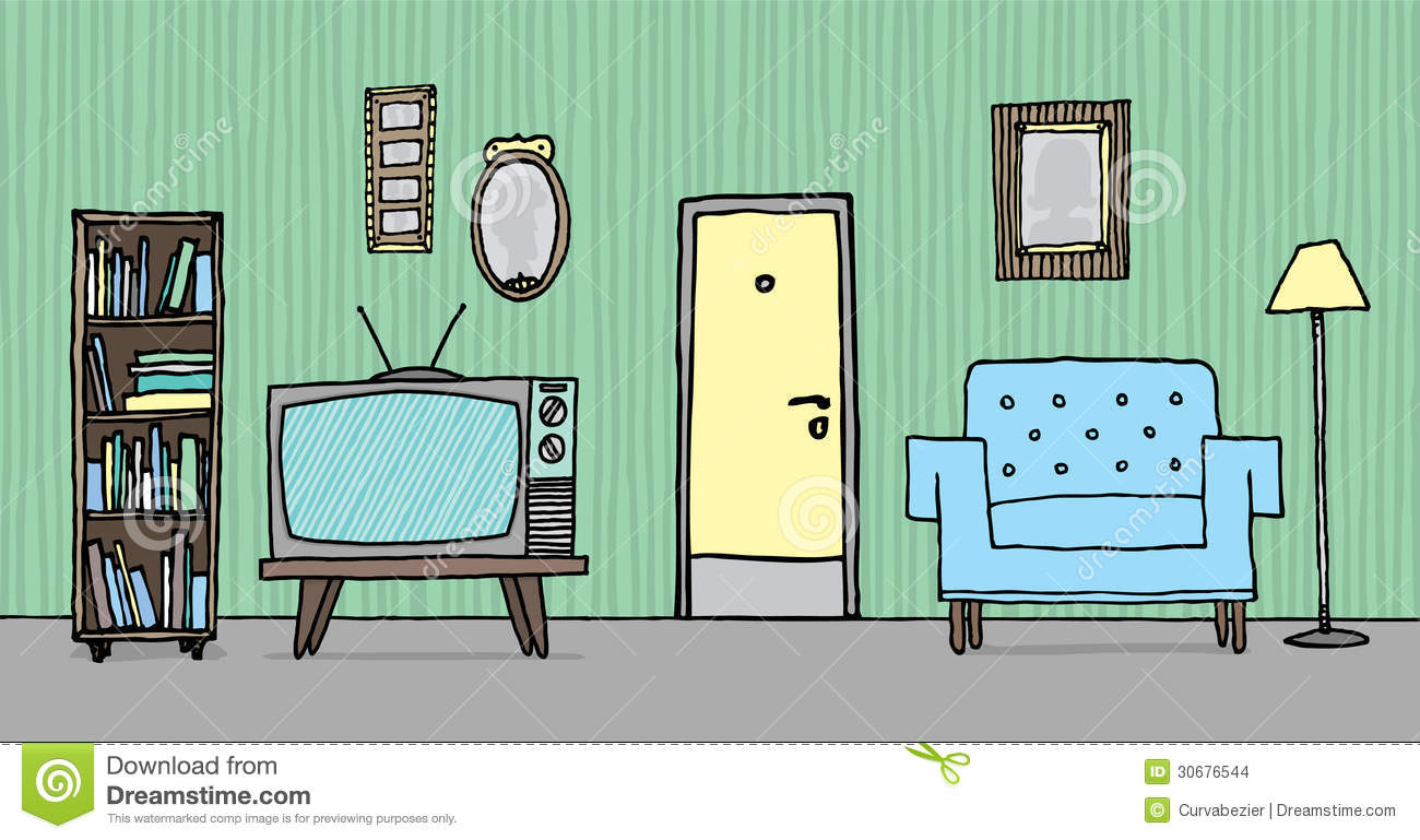 Cool vintage living room Cartoon Living Room Clipart
