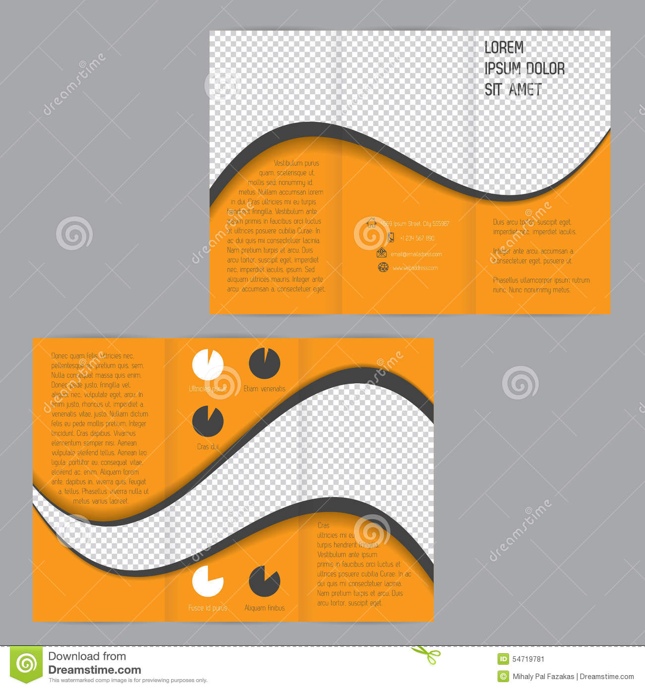 Cool wave design tri fold flyer brochure template stock for Cool brochure templates