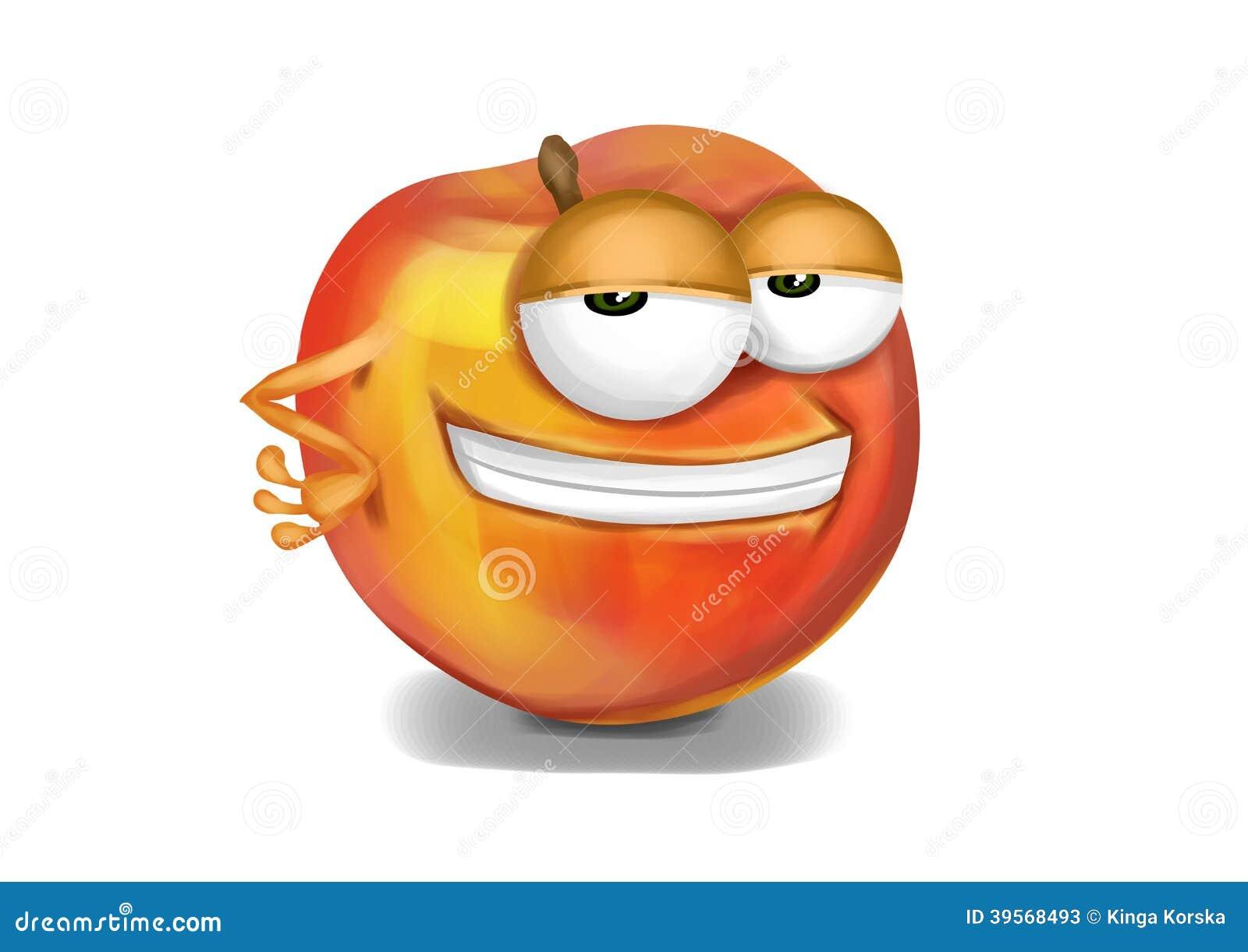 cool yellow nectarine cartoon character sly eyes stock