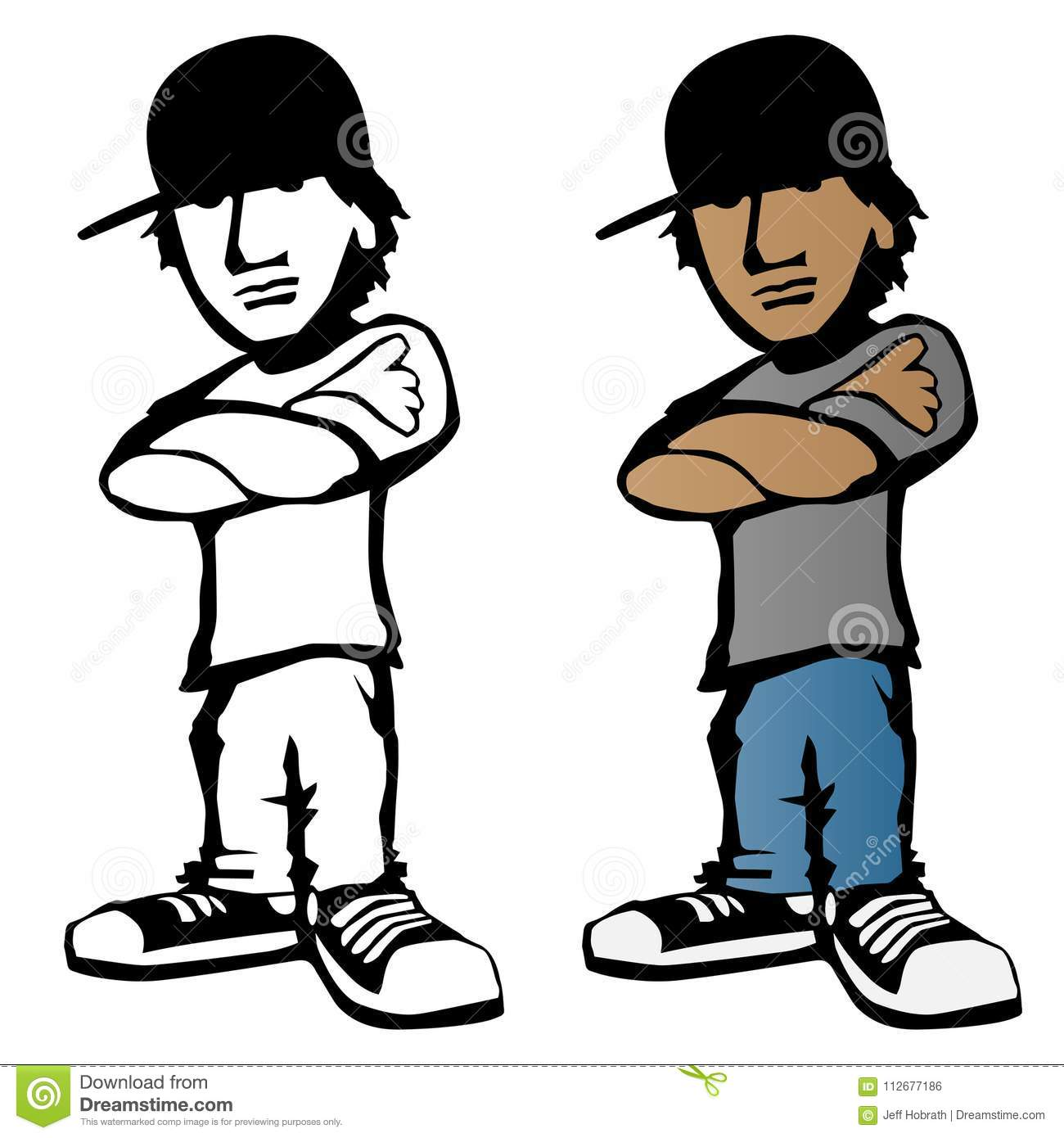 Cool young male cartoon character vector illustration