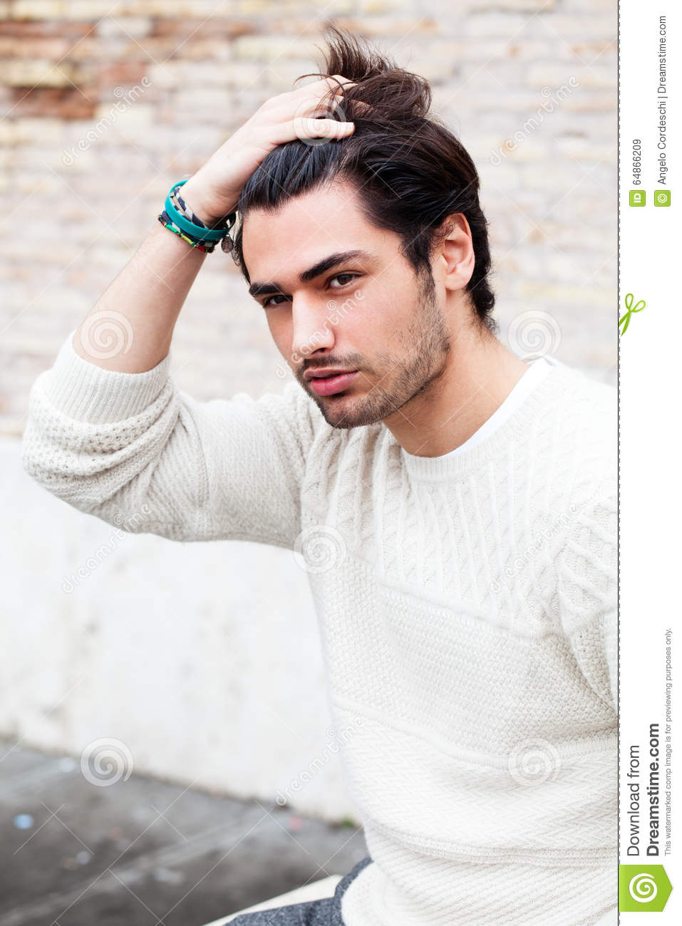 Cool Young Man Fashion Model Hairstyle Hand In The Hair