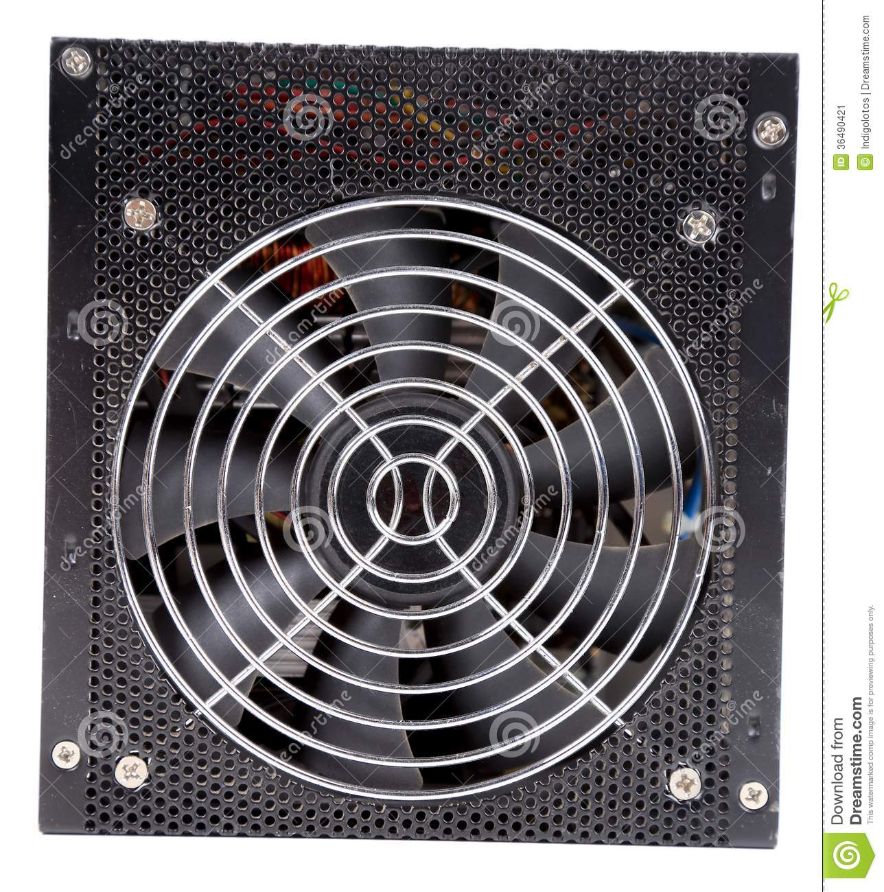 Cooler For Power Source Of Computer. Stock Image - Image of colour ...