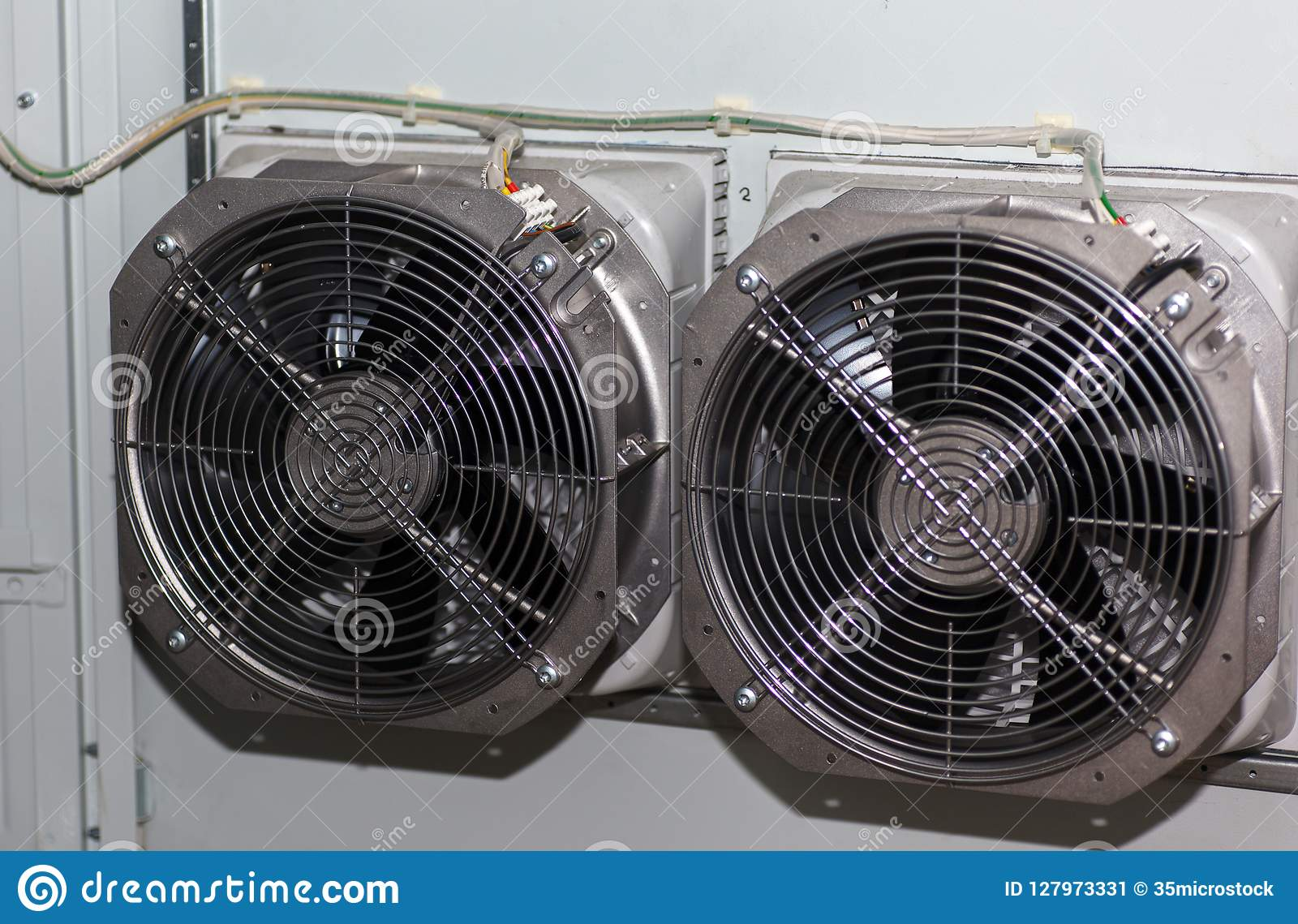 Cooling Fans In The Electric Cabinet Stock Image - Image ...