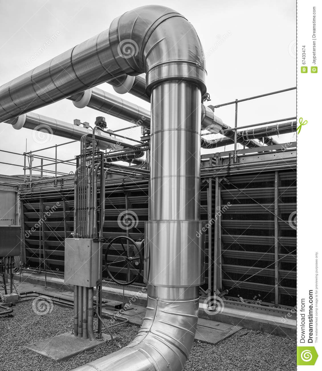 Cooling Tower Header Pipe And Valve  Stock Photo - Image of