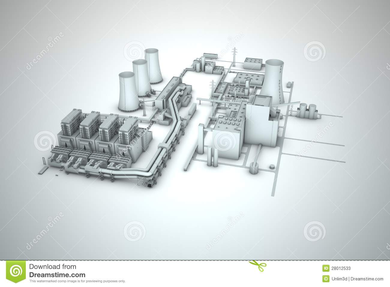 Cooling Tower Of Nuclear Power Plant Stock Illustration