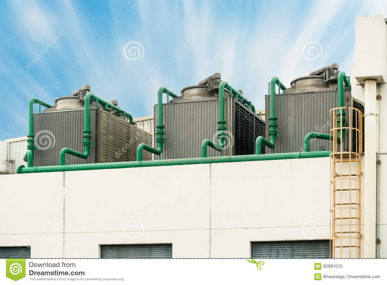 Cooling Tower On The Roof Floor, Cooling System , Pipeline