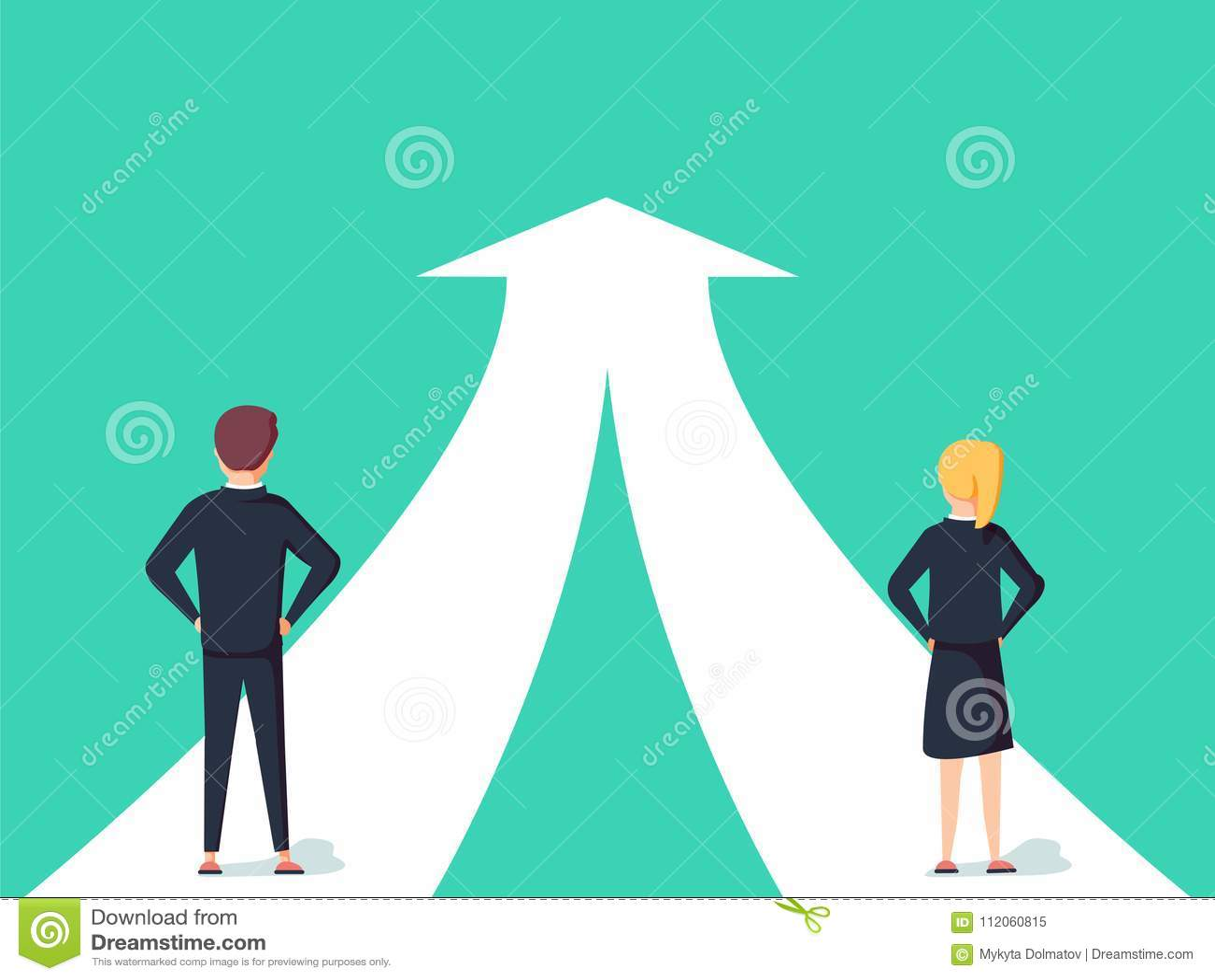 Coopération d affaires et concept de vecteur d association Femme et homme travaillant ensemble pour l objectif commun